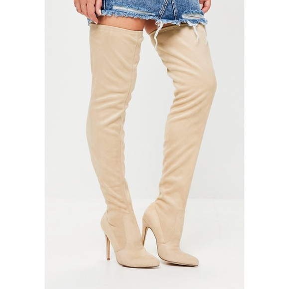 Missguided Nude Thigh High Boots